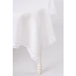 Balta lininė staltiesė su nėriniais