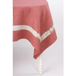 Languota lininė staltiesė su nėriniais